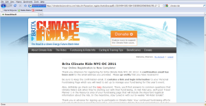 Climate Ride Registration Confirmation Screen
