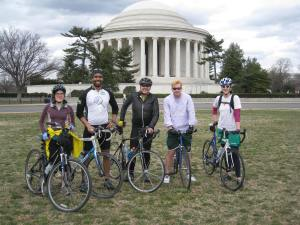 Climate Riders in front of the Jefferson Memorial