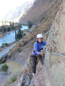 Climbing up the Sacred Valley Via Ferrata