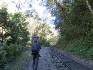 Getting off the train at KM 104 to the Inca Trail