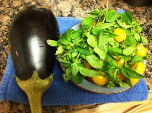 Fall harvest eggplant, basil and cherry tomatoes