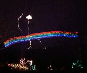 Rainbow holiday light display at Brookside Gardens