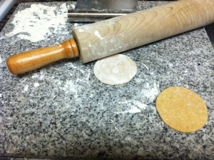 Rolling the dough for pierogies
