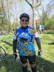 Bicyclist with a Cookie Monster jersey